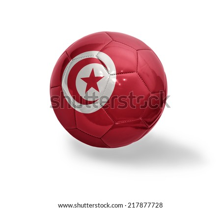 Football ball with the national flag of Tunisia on a white background - stock photo
