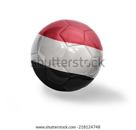 Football ball with the national flag of Yemen on a white background