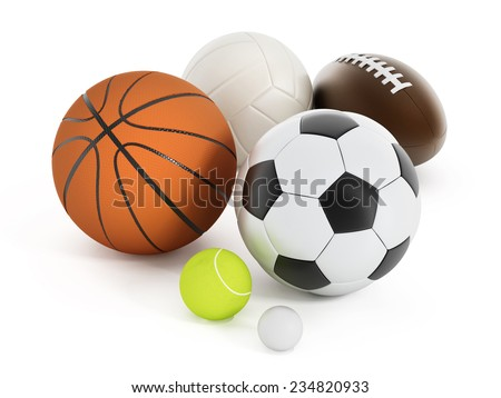 Football, basketball, soccer ball, volleyball, tennis ball and golf ball isolated on white
