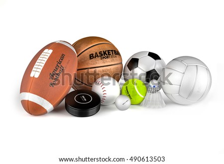 Football, basketball, soccer, volleyball, hockey puck, baseball, golf, tennis and badminton balls. Sport equipments isolated on the white background. High detailed and textured 3D render.