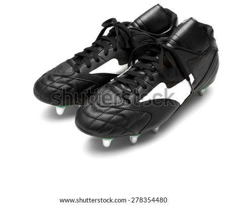 Football boots isolated on white - stock photo