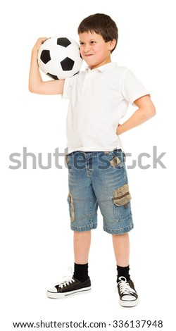 football boy with soccer ball studio isolated white background - stock photo