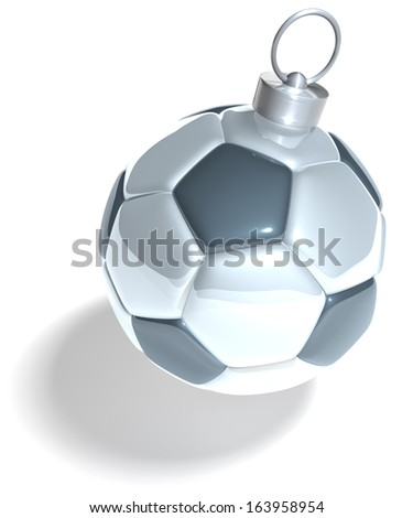 Football, christmas tree ball, xmas tree ball in shape of a soccer ball, 3d rendering isolated on white background - stock photo