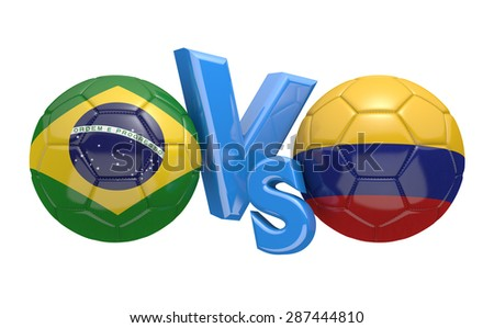 Football competition, national teams Brazil vs Colombia - stock photo