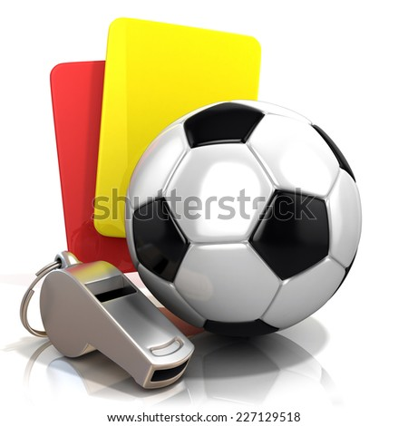 Football concept. Penalty (red and yellow) card, metal whistle and soccer (football) ball, isolated 3D render on white background. - stock photo
