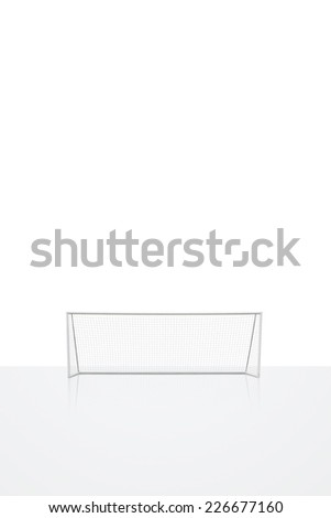 football concept showing empty football goal posts with goal net with reflection - stock photo