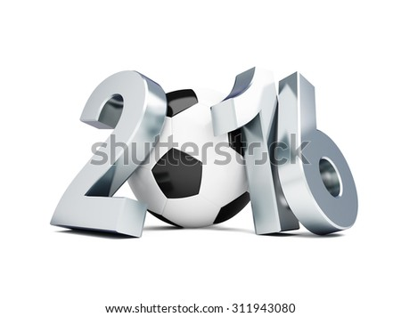 football 2016. 3d Illustrations on a white background  - stock photo