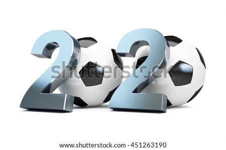 football 2020. 3d Illustrations on a white background - stock photo