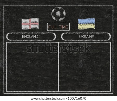 football euro 2012 scoreboard england and ukraine with nations flag written on blackboard background high resolution, easy to use - stock photo