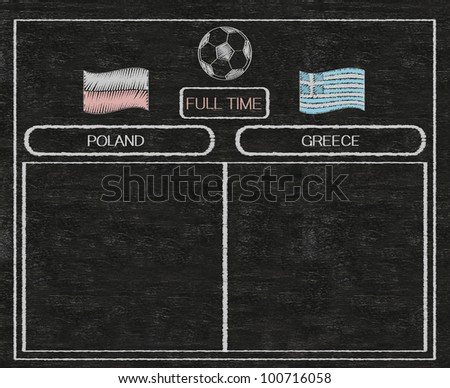 football euro 2012 scoreboard poland and greece with nations flag written on blackboard background high resolution, easy to use - stock photo