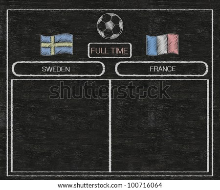 football euro 2012 scoreboard sweden and france with nations flag written on blackboard background high resolution, easy to use - stock photo