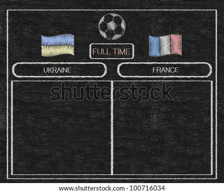 football euro 2012 scoreboard ukraine and france with nations flag written on blackboard background high resolution, easy to use - stock photo
