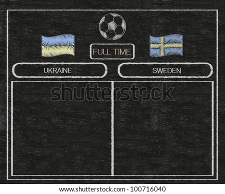 football euro 2012 scoreboard ukraine and sweden with nations flag written on blackboard background high resolution, easy to use - stock photo