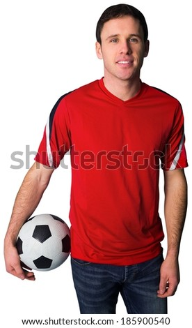 Football fan in red holding ball on white background