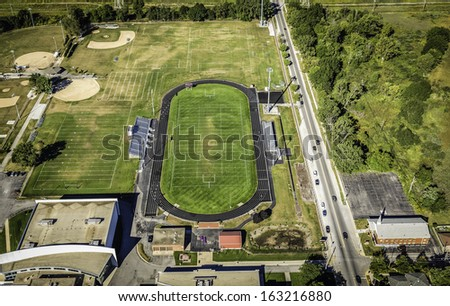 Football field aerial view - stock photo
