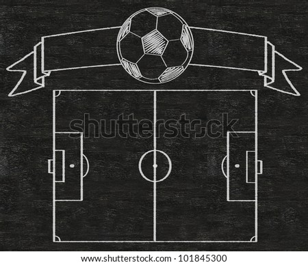 football field and banner vintage style written on blackboard background high resolution, easy to use - stock photo