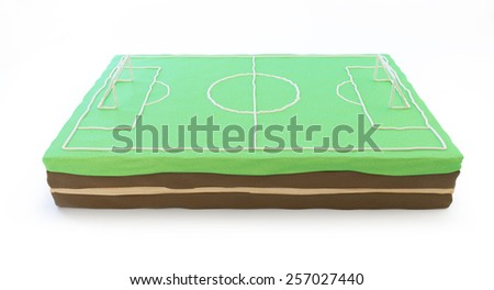 football field cake 3d on a white background - stock photo