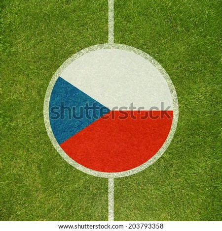 Football field center closeup with Czech republic flag in circle  - stock photo