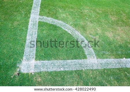 Football field corner green turf ,Corner of soccer pitch,soccer field grass conner - stock photo