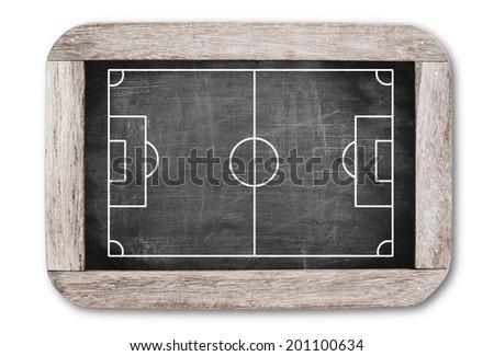 Football field on chalkboard - stock photo