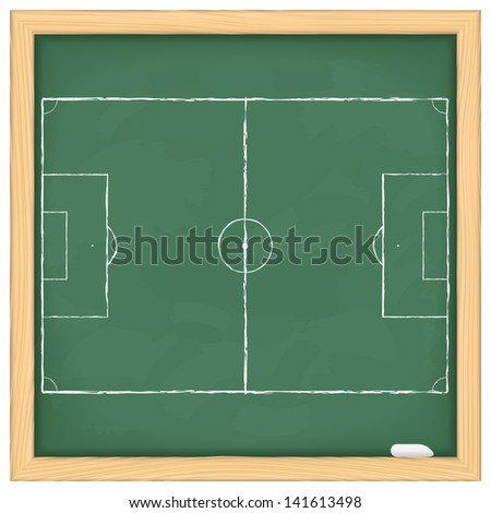 Football field on green blackboard