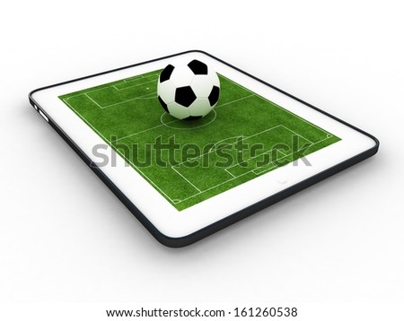 Football field on tablet, isolate - stock photo