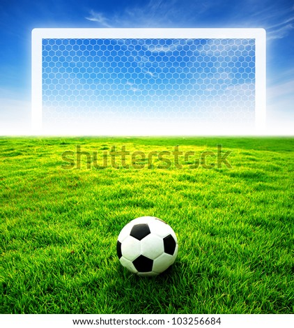 football field soccer stadium on the green grass blue sky sport game background for design - stock photo