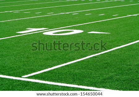 Football field ten yard line - stock photo