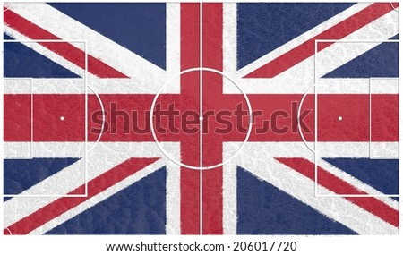 football field textured by great britain national flag