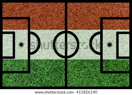 Football field textured by Hungary national flags on euro 2016 - stock photo