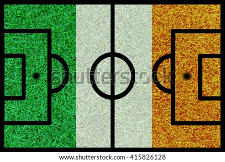 Football field textured by Ireland national flags on euro 2016 - stock photo
