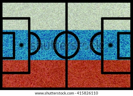 Football field textured by Russia national flags on euro 2016 - stock photo