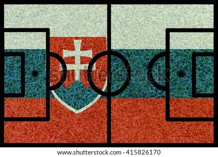 Football field textured by Slovakia national flags on euro 2016 - stock photo