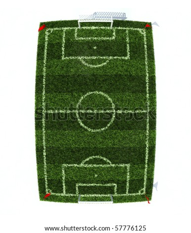 football field top view with fish eye effect isolated on white background