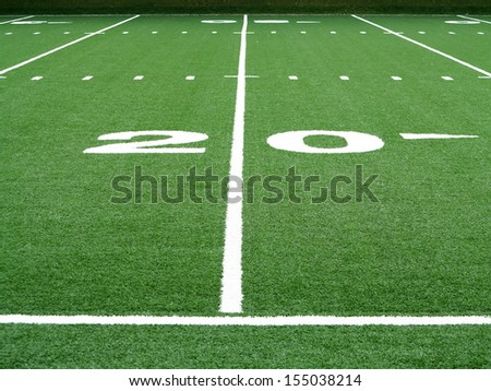 Football field twenty yard line  - stock photo