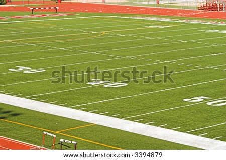 Football field viewed from high angle. - stock photo