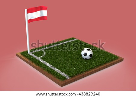 Football Field with austrian flag / Sports Background 3D Rendering