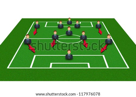 Football Field with Icon Soccer Player Tactics 4-5-1 - stock photo