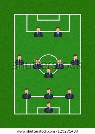 Football Field with Icon Soccer Player Tactics 3-5-2 - stock photo
