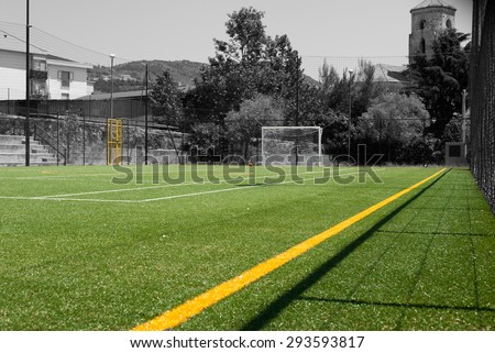Football field with synthetic grass