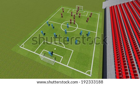 Football field with the players and with empty tribunes  - stock photo