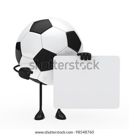 football figure hold billboard on white background - stock photo