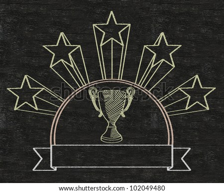 football five stars cup reward prize on vintage banner written on blackboard background high resolution, easy to use - stock photo