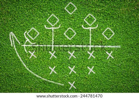 Football game plan on grass background with some tactics on it - stock photo