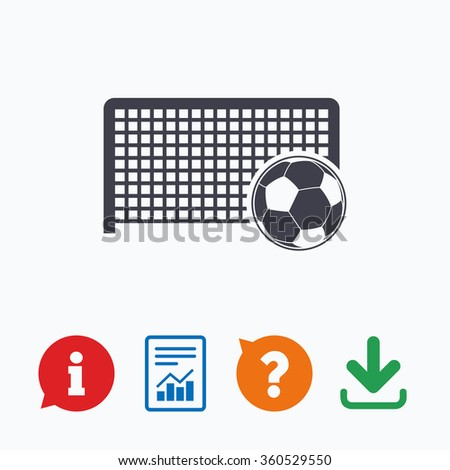 Football gate and ball sign icon. Soccer Sport goalkeeper symbol. Information think bubble, question mark, download and report. - stock photo