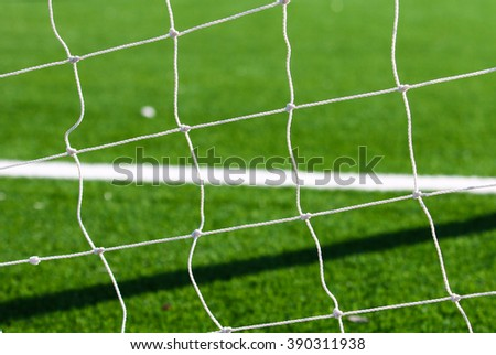 Football gate net. Close up shoot. Soccer gate net - stock photo