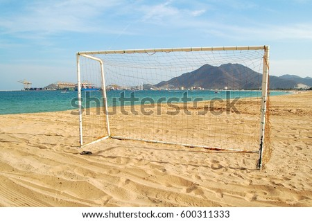 Football goal at the beach of Khor Fakkan in the UAE