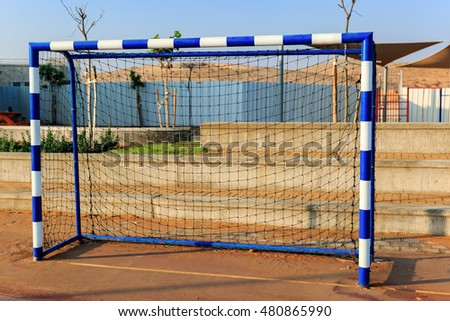 Football goal on the playground