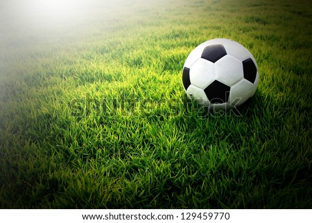 football green grass ball stadium football field game sport background for design - stock photo