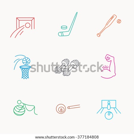 Football, ice hockey and fitness sport icons. Basketball, muscle and bowling linear signs. Billiards and gymnastics for pregnant icons. Linear colored icons. - stock photo